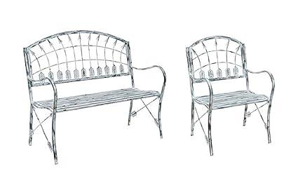Metal Garden Furniture Set Amazon metal patio furniture sets grey distressed finish arrow metal patio furniture sets grey distressed finish arrow theme metal garden bench and chair set 4525 workwithnaturefo
