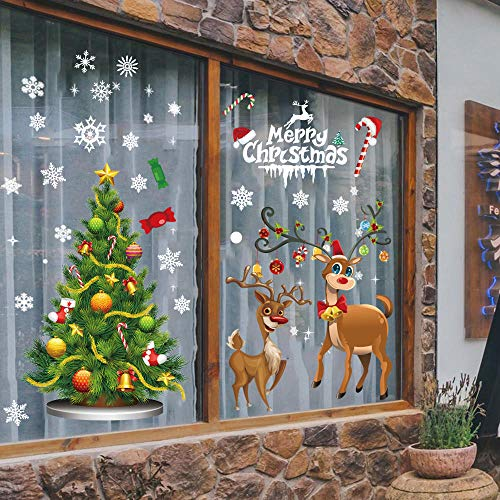 Christmas Window Clings Party Decorations - Winter Wonderland Party/Winter Holiday/Xmas Party Supplies Wall Sticker Decals Home Office Party Decor (Office Stores Decor)