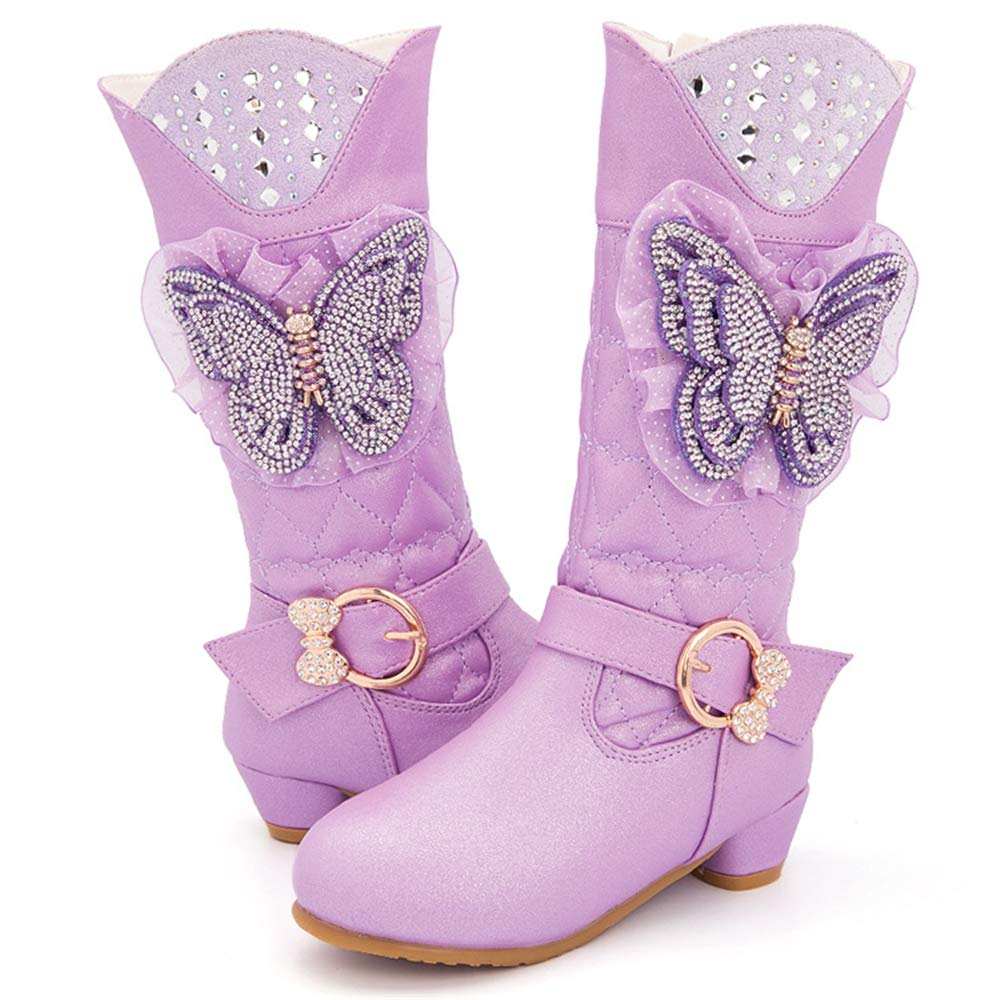 Girls Plush Buckled Princess Boots