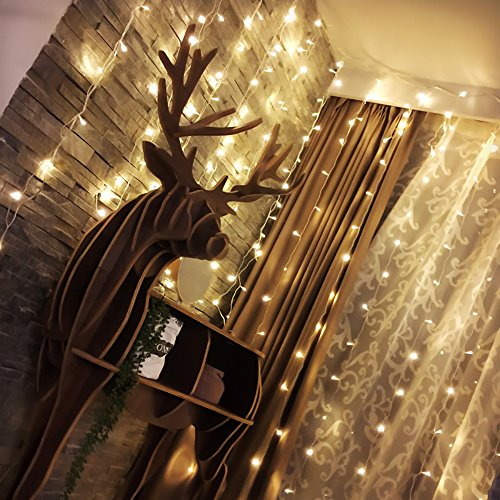 Alanda Window Curtain String Light 19.6ft X 9.8ft 600 LED Linkable Christmas Fairy Lights for Wedding Party Home Garden Bedroom Patio Lawn Garden Outdoor Indoor Wall Holiday Decorations (Warm White) (A Window Big For Curtains)