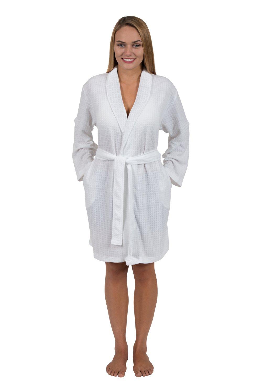 Love This Robe Women's Houndstooth Shawl-Collar Short Robe Travel Robe (Small, Spa White)