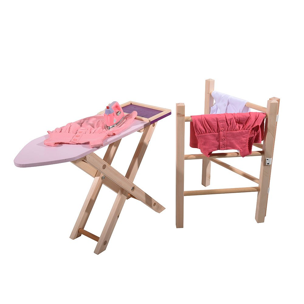 Childrens Role Play Iron Wooden Clothes Airer & Wooden Ironing Board Set Family Motoring & Leisure