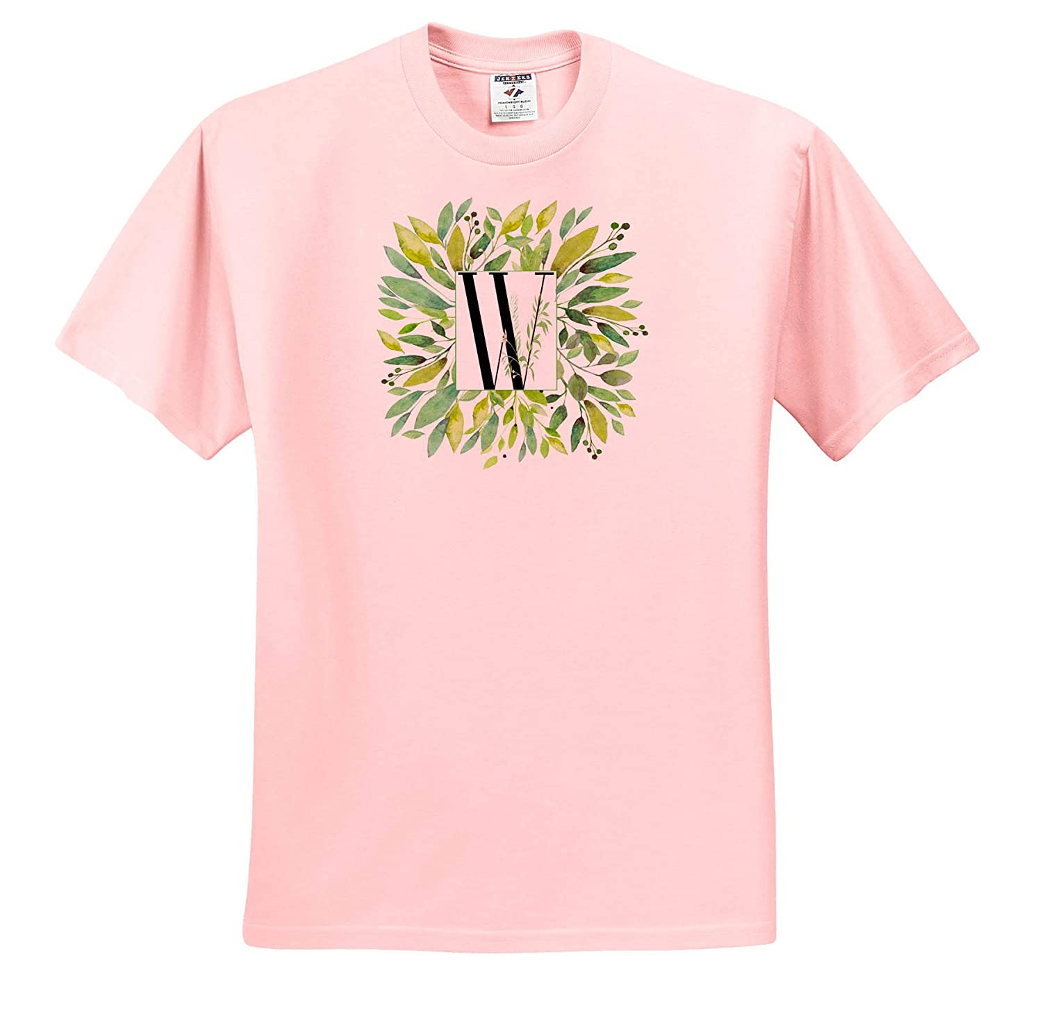 ts/_318090 Monograms Adult T-Shirt XL 3dRose Anne Marie Baugh Pretty Image of Watercolor Greenery Leaves Monogram W