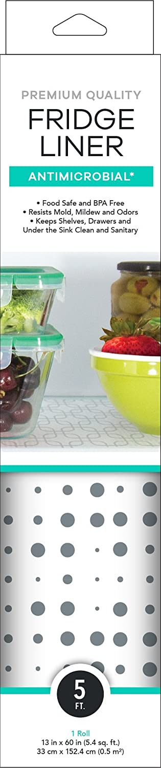 """Mindfull Products Antimicrobial Fridge Shelf Liner, BPA Free, Cut to Fit, 13"""" x 60"""", Blue/Grey Dots"""