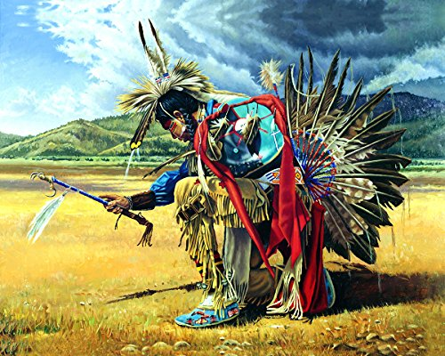 Native American Indian Rain Dancer On Prairie Wall Picture Art Print