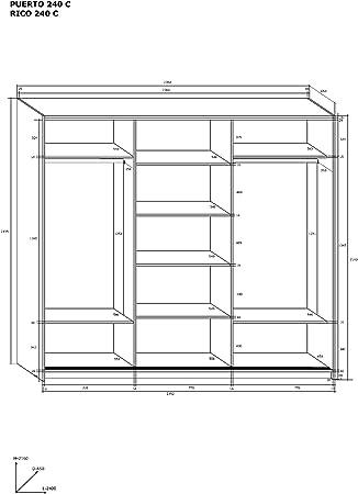 Marca nueva, moderna, 3 puertas, armario ancho: 240 cm, altura: 216 cm Profundidad: 65 cm roble Sonoma/Sonoma roble oscuro: Amazon.es: Hogar