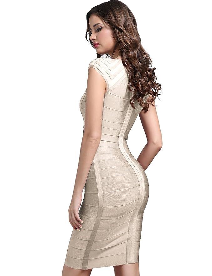 5fb8482386 Adyce Mujer Bandage-Dress Ropa disfraz Sexy vestido rojo tipo Midi mostrar  mostrar elegancia britš¢nica antes de la boda (Beige