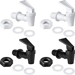 4 Sets BPA-Free Replacement Cooler Faucet Water Bottle Jug, 2 Black and 2 White Water Dispenser Tap Set, Reusable Spigot Spout Water Beverage Lever Pour Dispenser Valve Water Crock Tap