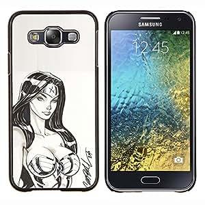 EJOOY---Cubierta de la caja de protección para la piel dura ** Samsung Galaxy E5 E500 ** --superhéroe sexy boceto mujer nena