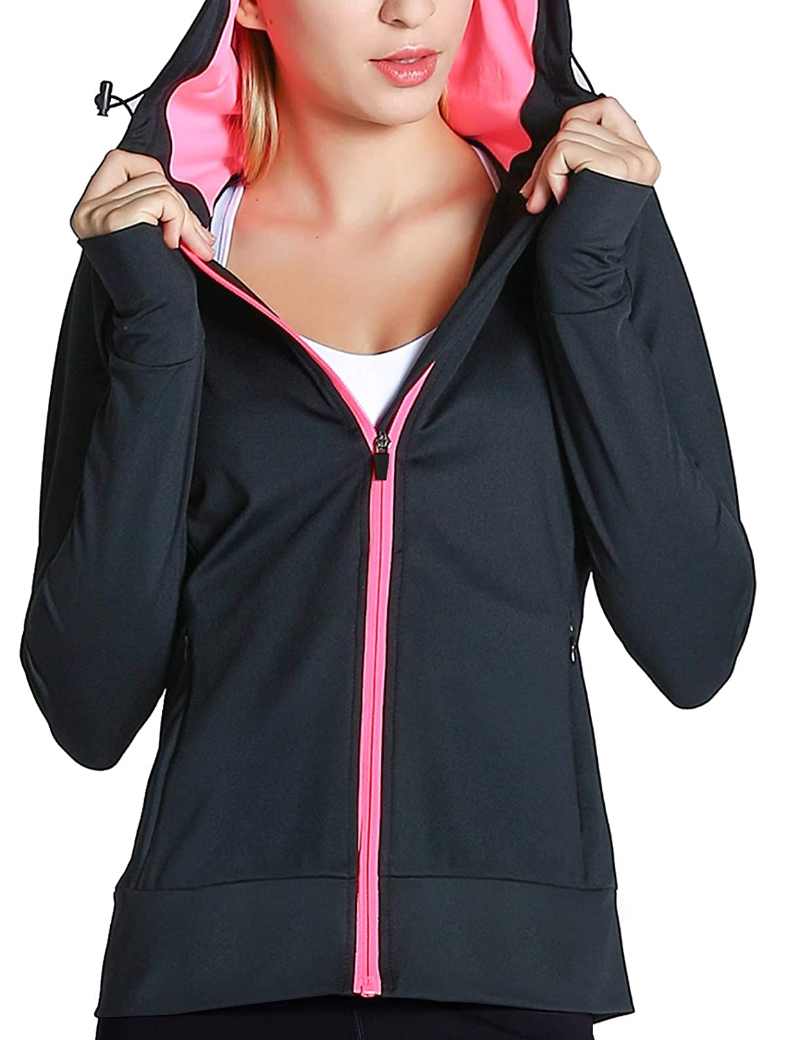Fastorm Womens Full Zip Athletic Jacket Hoodie Activewear Workout Sweatshirt Track Jackets with Thumb Holes Ht-JK017