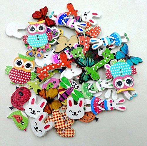Craft Doll Clothes - 50PCS Animal Shape 2 Holes Mixed Wooden Buttons Sewing Craft Scrapbooking