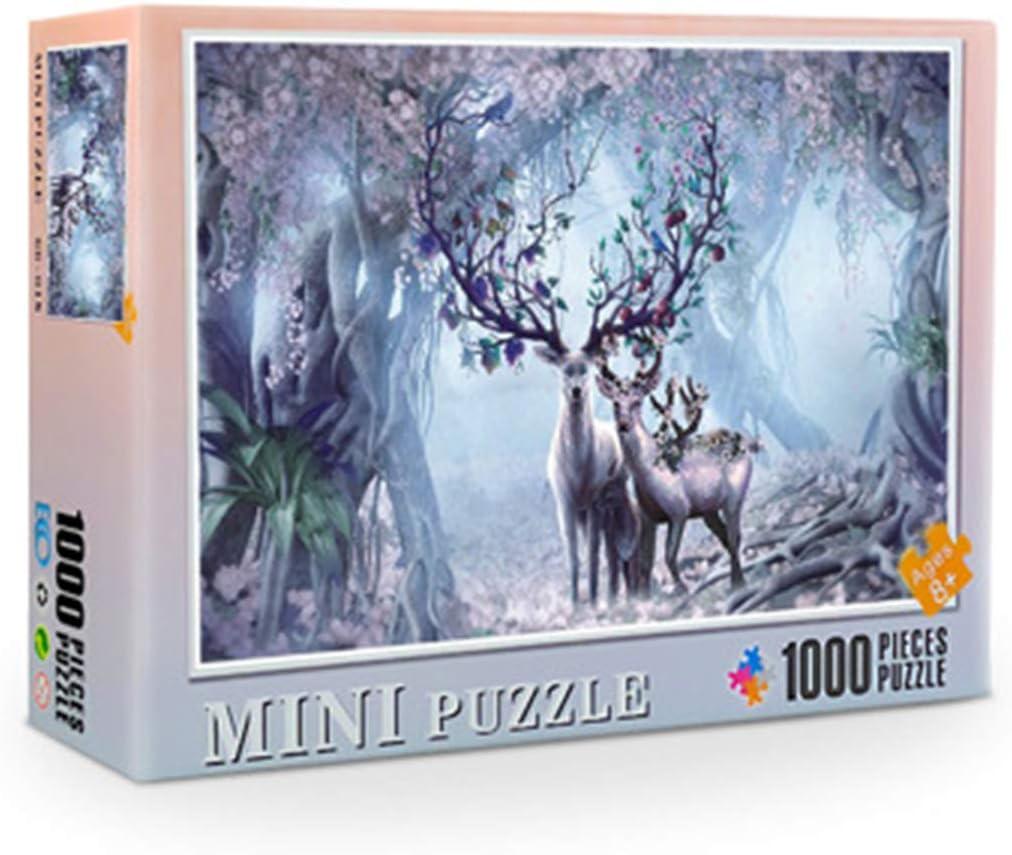 DEDC Rompecabezas 1000 Piezas para Adultos Niños, Art Painting Puzzle Decoración Rompecabezas Educativos Juegos de Bricolaje Brain Challenge Puzzle Sets, 38x26cm (Alce)