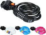 Diamond Sports Bike Lock, Cable Combination Bicycle Locks 5 Digit Code, High Security for Cycling Outdoors 12mm X 1200mm
