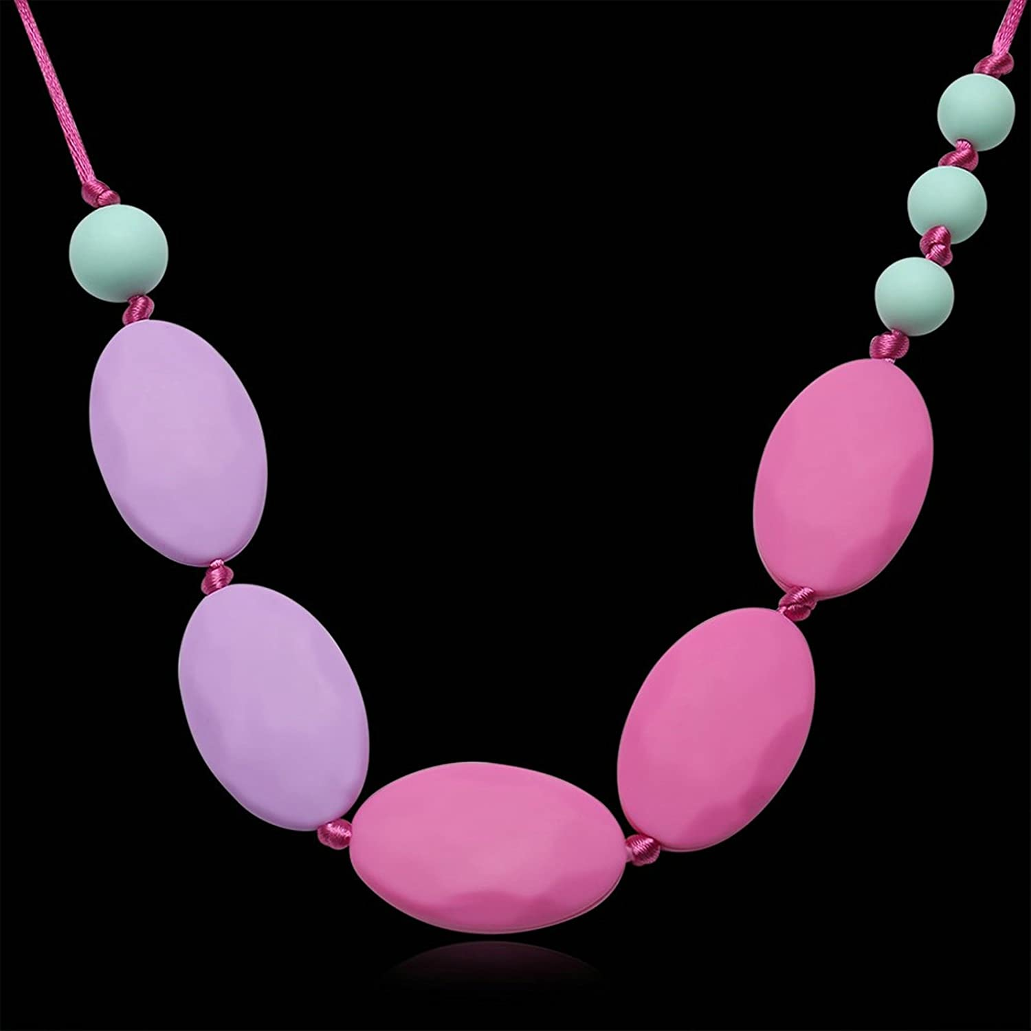 MoAndy Silicone Teething Necklace Chain Oval Chain Red Length 80CM