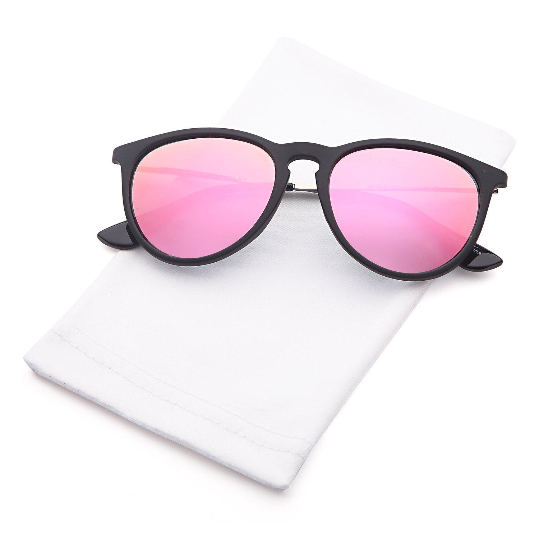 02471e5b546 GAMMA RAY Polarized UV400 Vintage Retro Round Sunglasses - Mirror Pink Lens  on Matte Black Frame