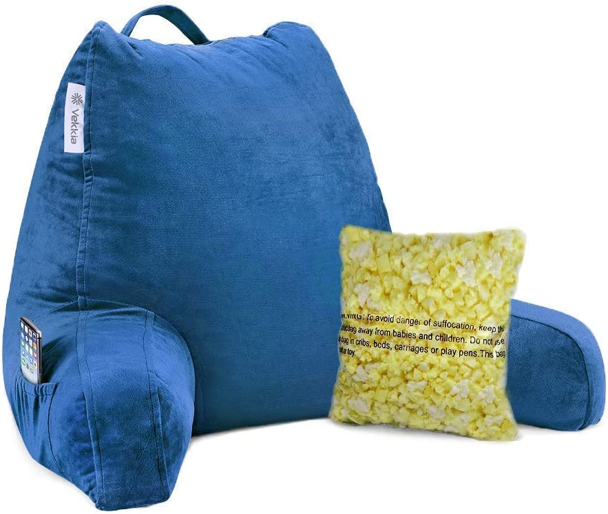 Includes Bed Rest Pillow and Replacement Cover Vekkia Premium 18 Soft Reading Pillow Bundle