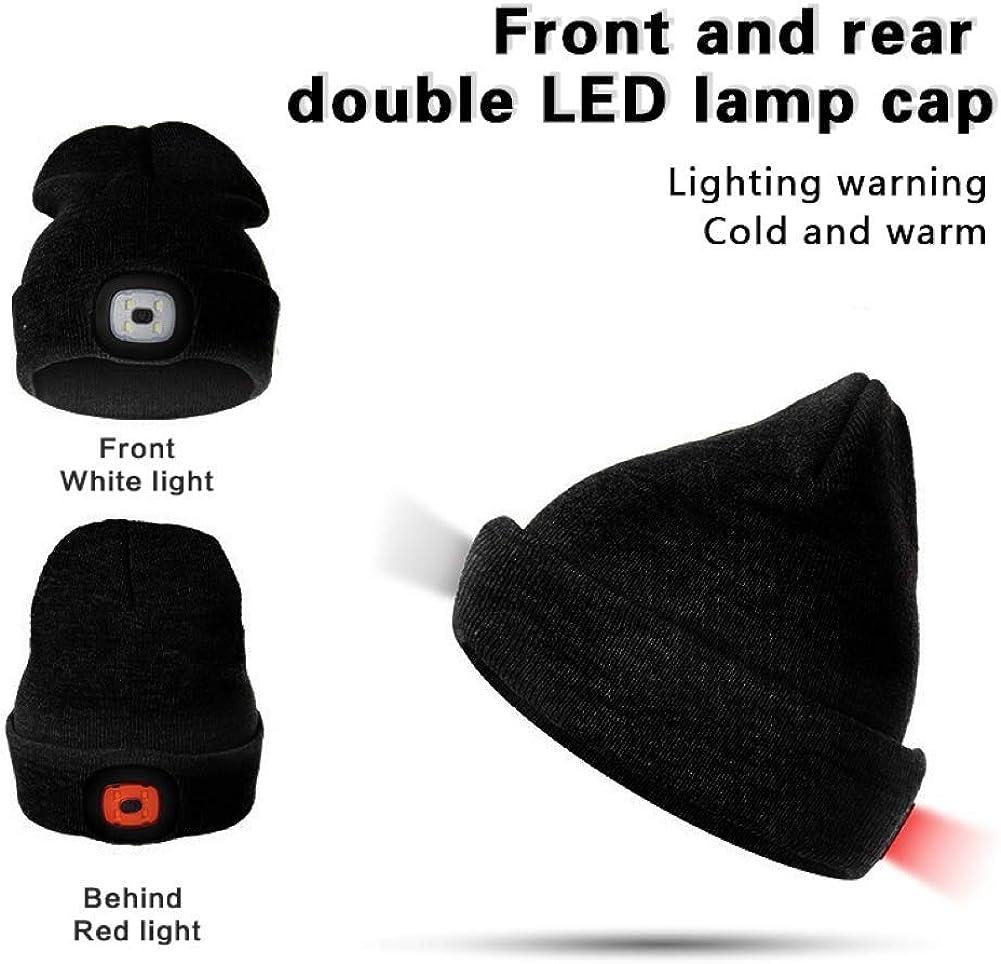 Randonn/ée en Plein Air Meowtutu USB Rechargeable LED Bonnet Chapeau V/élo Nuit Neige Stretchy /& Soft Lumineux Casquette /Éclairage et Clignotant Alarme Lampe Frontale Tricot/é Bonnet pour Jogging