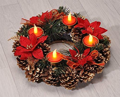 Haushalt International Adventskranz Weihnachtskranz mit LED Teelichtern 30,5 30,5 30,5 cm B074ZMLCX3 Krnze & Girlanden 65404a