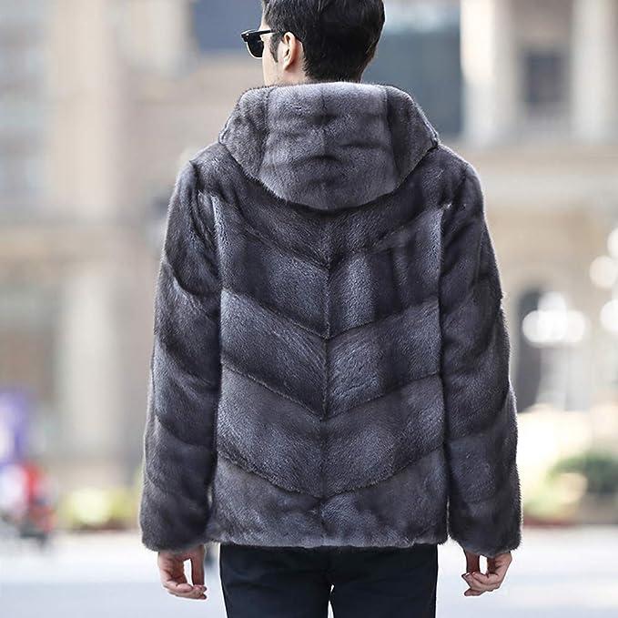 Amazon.com: Chaqueta de piel sintética con capucha y visón ...