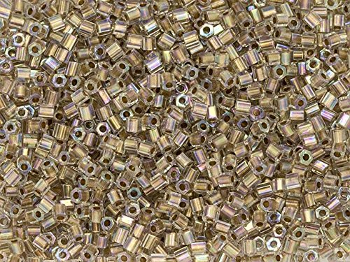 24k Gold Lined Crystal - TOHO 11/0 Hexagon Seed Bead 24K Gold-Lined Rainbow Crystal, 2.5-Inch Tube