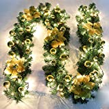 V-Best Christmas Garland - 8.8 ft Christmas Rattan Christmas Artificial Flower Vine Plants Christmas Outdoor Decorations, Christmas Garland Lights Battery Operated