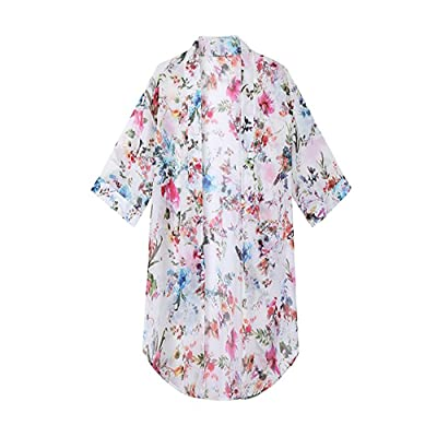2020 Women's Floral Chiffon Kimono Cardigan Summer Long Blouse Swimsuit Beach Cover up (White) at Amazon Women's Clothing store