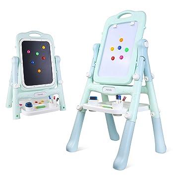 HOMFA Caballete para niños, 2 en 1 Pintar Pizarra Rotación de 360 grados Pizarra Magnética Colorido con Bandeja De Almacenamiento para niños de 3-10 ...