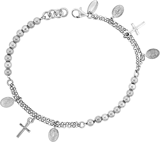 """Womens Solid 925 Sterling Silver Miraculous Medal Charm Beads Italy Bracelet 7/"""""""