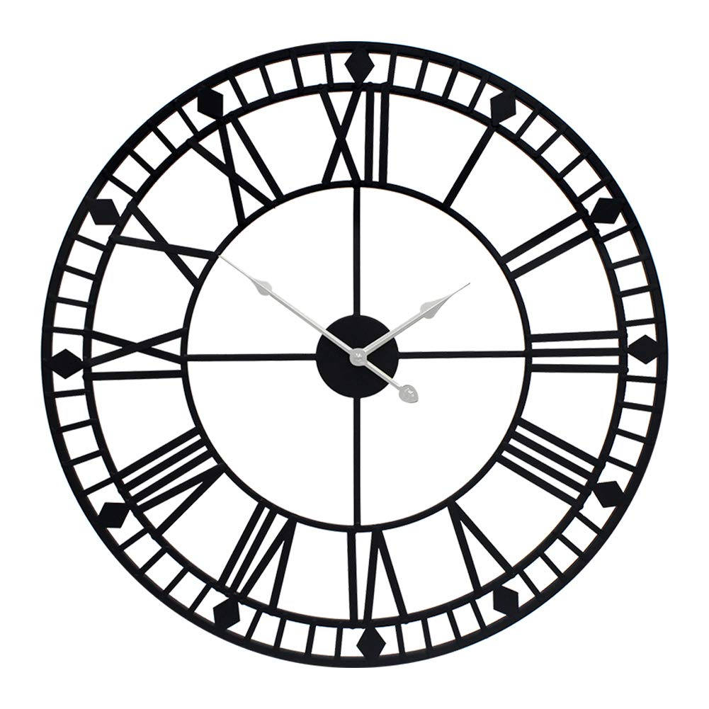 YIDIE 32 inch Pure Metal Large Wall Clock Decorative Display Non-Ticking Battery Operated Decor Clocks,Black