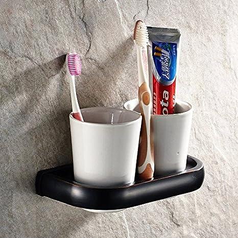 QUEENS Baño tenedor Porta Cepillo de dientes de cobre antiguo negro Taza de cerámica de vidrio