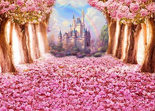 Leowefowa 7X5FT Fairytale Castle Backdrop Cherry Blossom Street Backdrops for Photography Flowers Rainbow Enchanted Garden Vinyl Photo Background Girls Bridal Shower Wedding Ceremony Studio Props ()