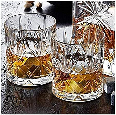 WHZG Crystal 6pcs Whiskey Glasses, Crystal Glassware by Classic Crystal Glasses Perfect para Scotch, Bourbon Gin & Tonic, Cocktails y más 711