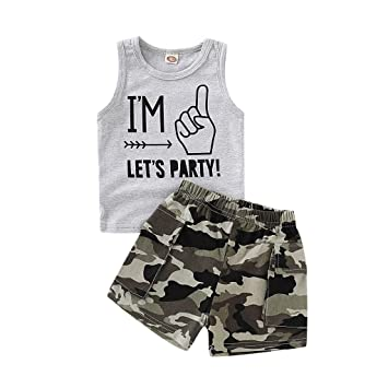 2b3795bf5 Infant Boy Vest Outfit, Baby Kids 2pc Summer Sleeveless Camouflage Tops T-Shirt  Vest