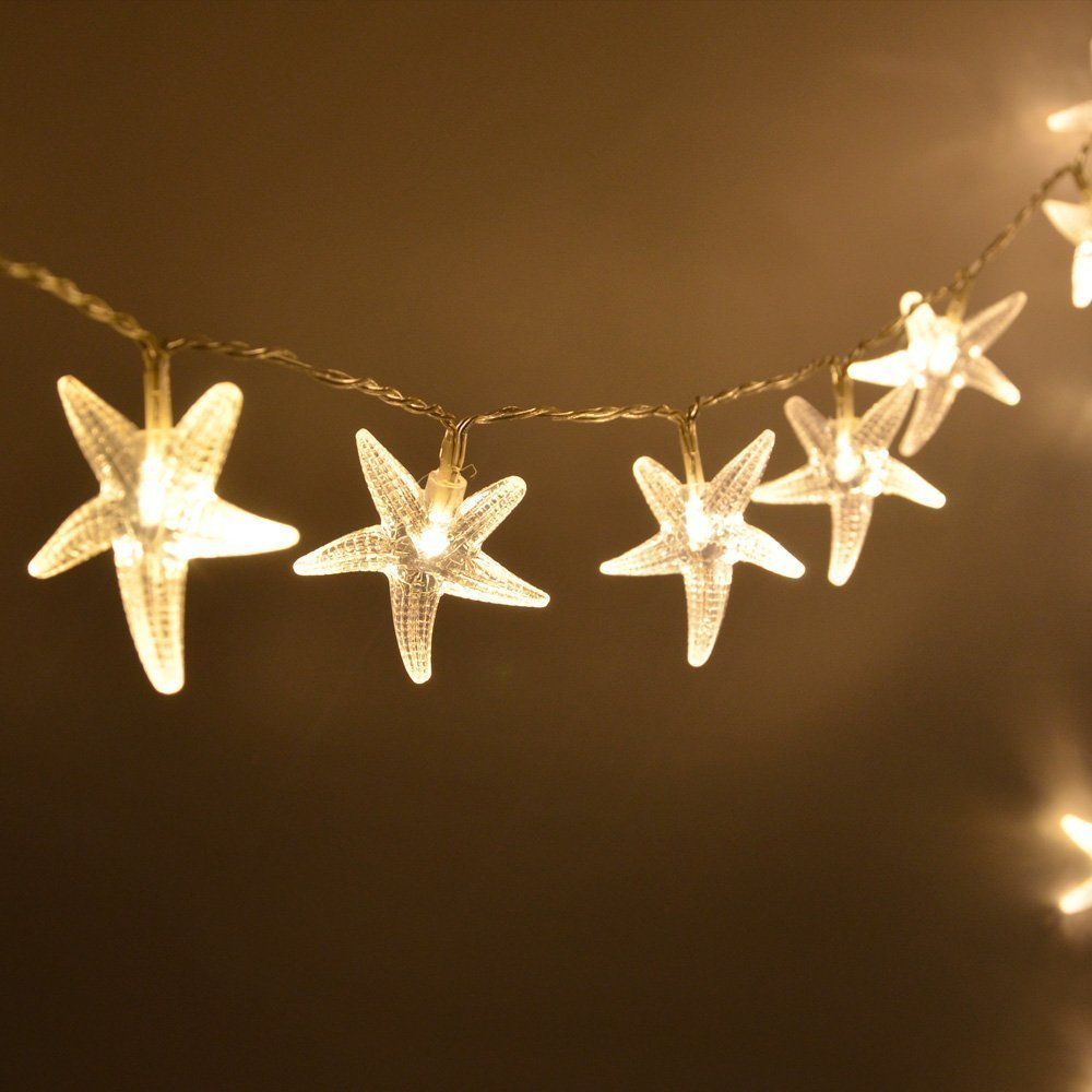amazoncom warm white 3m 20 led fairy string lights battery operated starfish shaped indooroutdoor used for christmas party wedding - Battery Operated White Christmas Lights