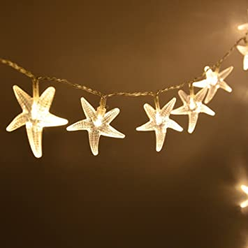 Warm White 3M 20 LED Fairy String Lights Battery Operated Starfish Shaped  Indooru0026outdoor Used For Christmas