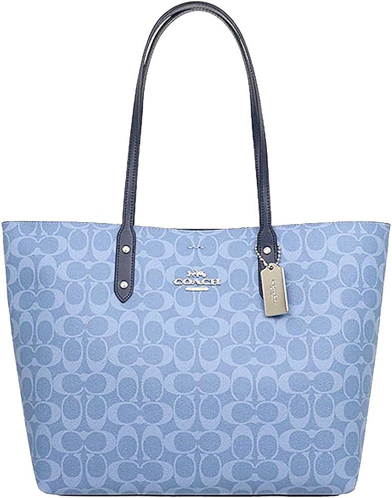 Coach Tote Coated Canvas Leather Signature Handbag 76636