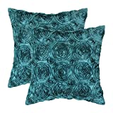 Pack of 2 CaliTime Cushion Covers Throw Pillow Cases Shells for Couch Sofa Home, Solid Stereo Roses Floral, 18 X 18 Inches, Teal