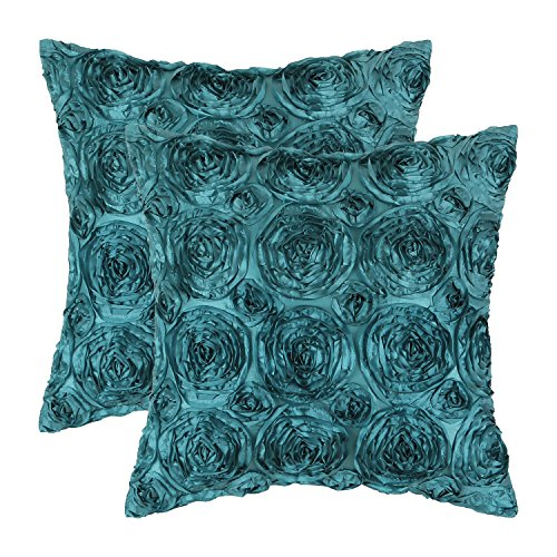 (CaliTime Pack of 2 Cushion Covers Throw Pillow Cases Shells for Couch Sofa Home Solid Stereo Roses Floral 18 X 18 Inches Teal)