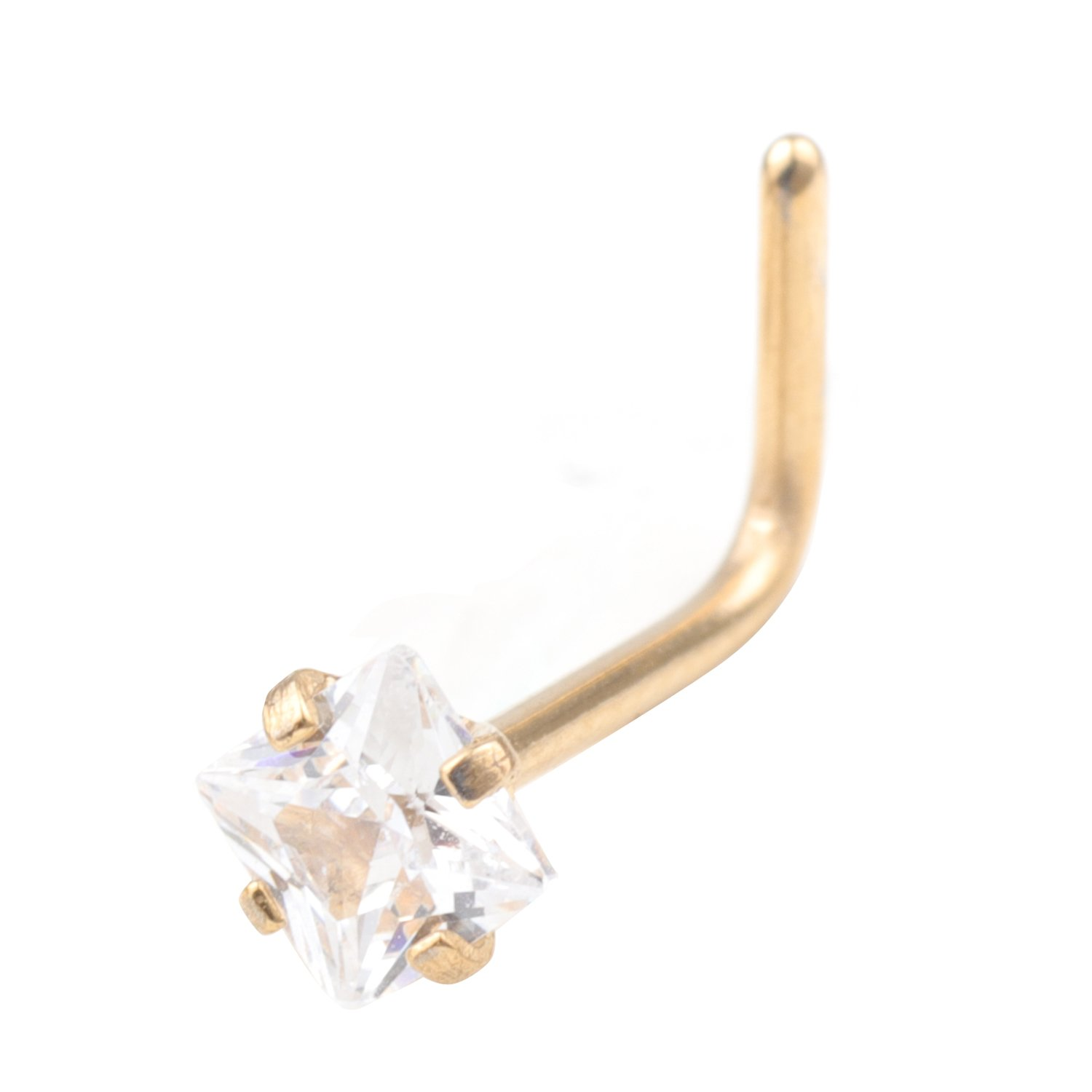 20G Stainless Steel 3mm Clear Square Cubic Zirconia Crystal Nose L-Shape Nose Ring Nose hoop Body Jewelry Piercing