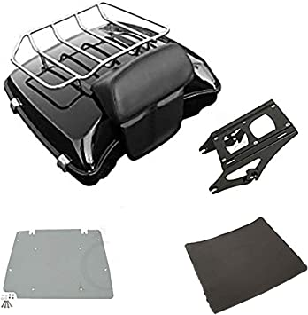 Black Latches//Mounting Rack, Style C TCMT Chopped Tour Pack Trunk Black Latch Backrest Mount Rack Fit For Harley Touring Road King FLHT FLHX FLTR 1997-2008