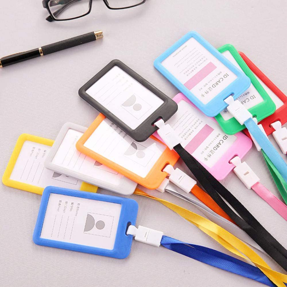 Yellow Work Card Holder Portable Colorful Employee Plastic ID Card Holder Name Tag Lanyard Neck Strap