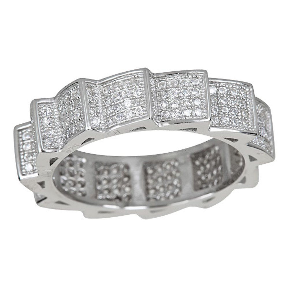 Sterling Silver Cubic Zirconia In Motion Pave Eternity Band Ring