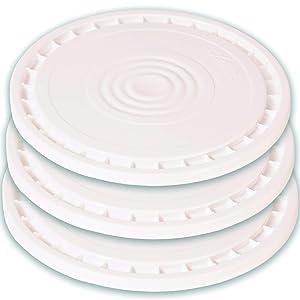 Meranti Reusable Easy Peel 3.5, 5, 6, and 7 Gallon Bucket Lid | Food Grade | 3 Pack (White)
