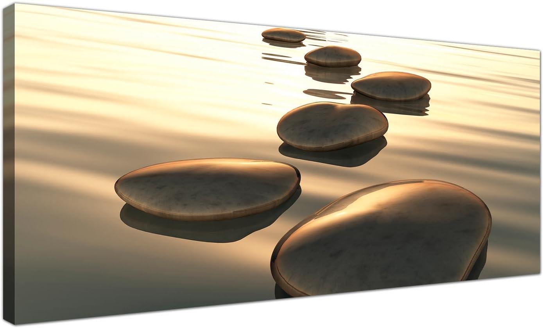 Cuadro contemporáneo de Wallfillers® de piedras marrones abstractas, 120 x 50 cm,