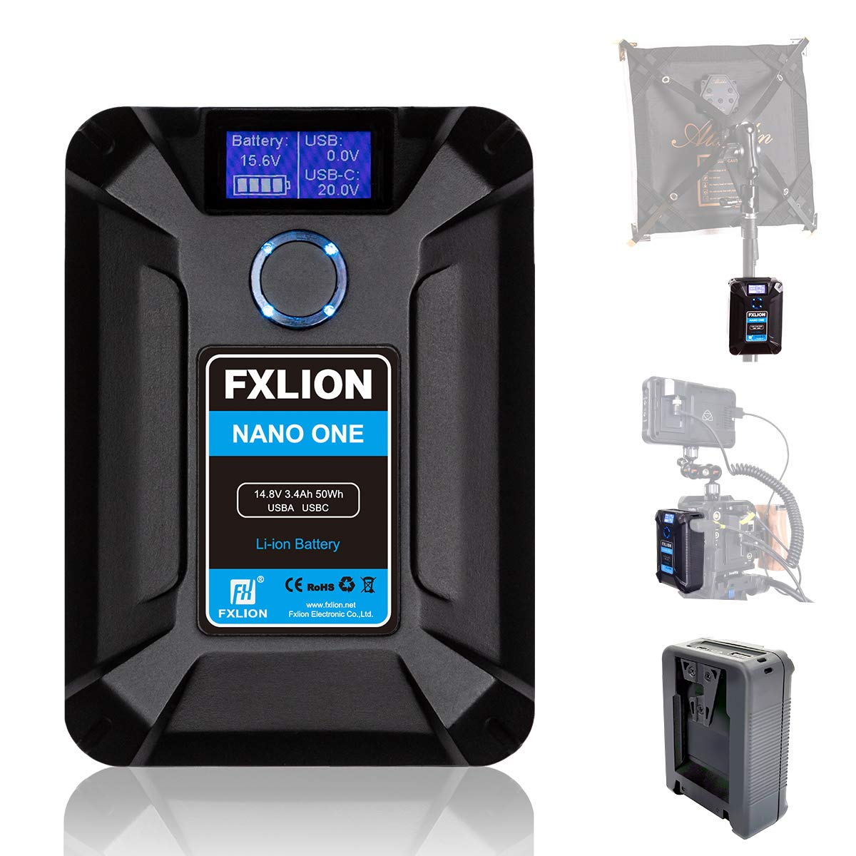 FXLION Nano ONE V Mount/V-Lock Battery 13600mAh(50Wh/14.8V) with D-TAP,USB-C,USB-A, Micro USB Plugs, 310g Mini Power Bank for Cameras, Camcorders,Large LED Lights, Monitors, MacBook and Smartphone by Moman