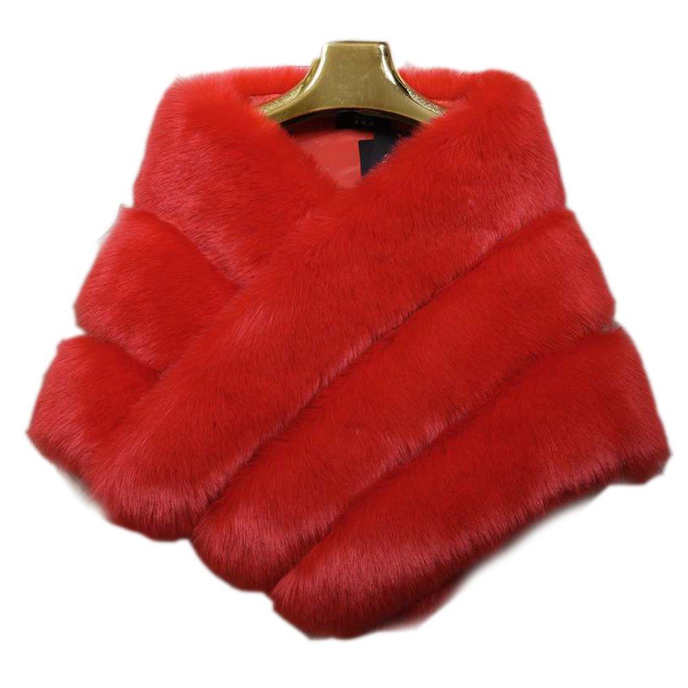 FOLOBE Women's Thicken Wrap Shawls Wedding Faux Fur Bridal Scarves Jacket Stoles WP009-Black