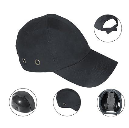 931eac4beccdd Zinnor Baseball Bump Cap Lightweight Safety Hard Hat Head Protection Cap  Adjustable Protective Hat (Black) - - Amazon.com