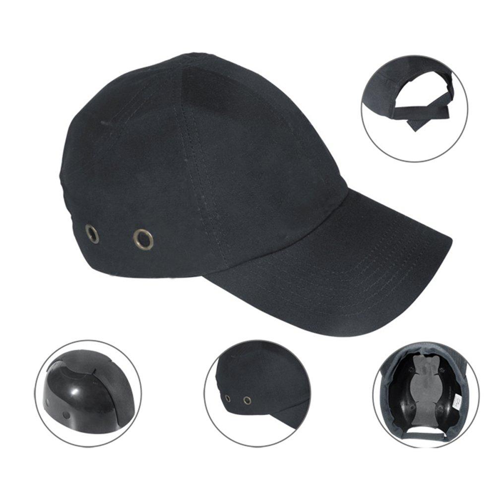 Zinnor Baseball Bump Cap Lightweight Safety Hard Hat Head Protection Cap Adjustable Protective Hat (Black)