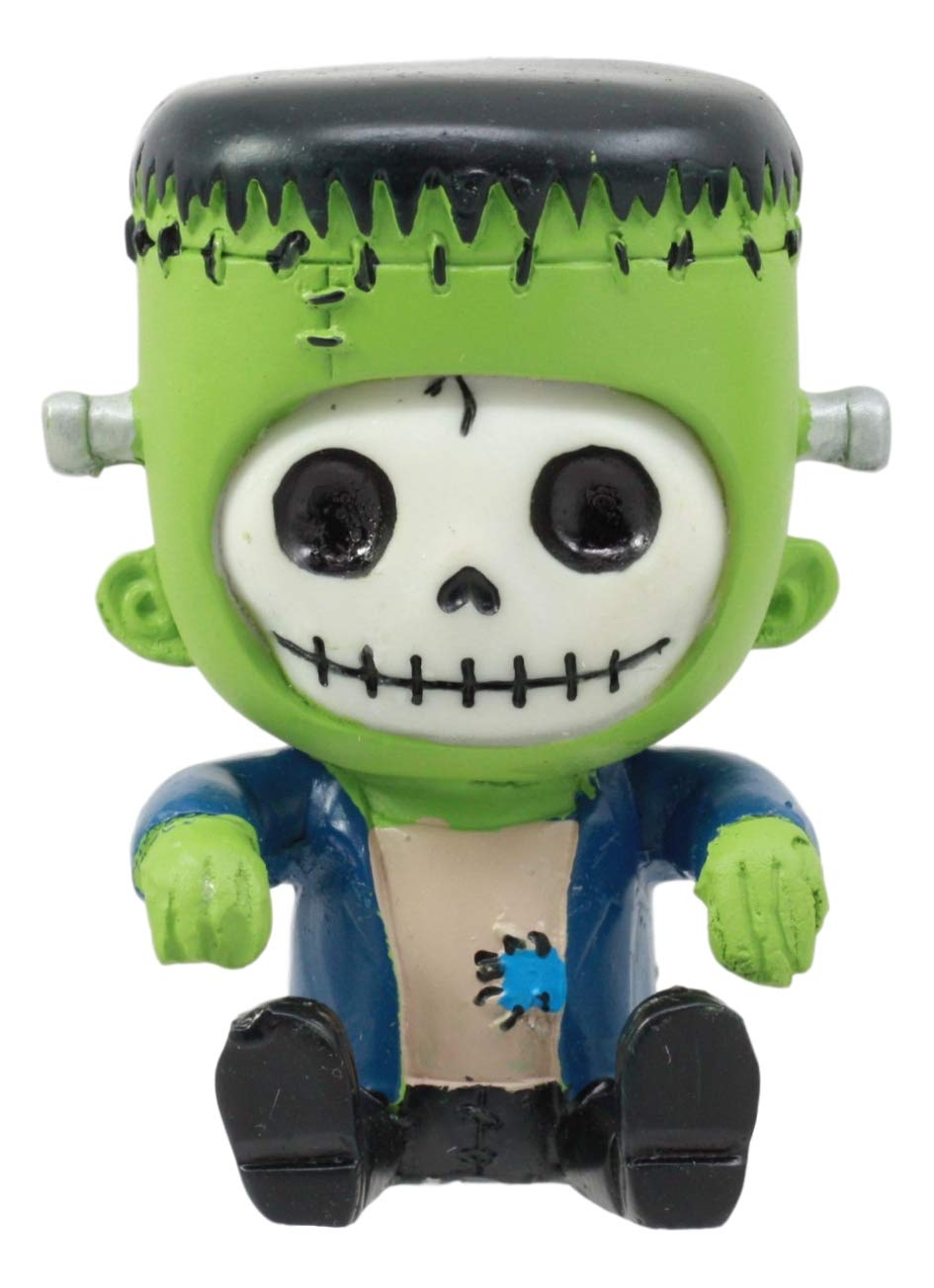 Ebros Frankie The Frankenstein Furrybones Figurine Small 3 Inch Tall Furry Bones Skeleton Monster Decor Statue As Halloween Gothic Fun Toys Collectible