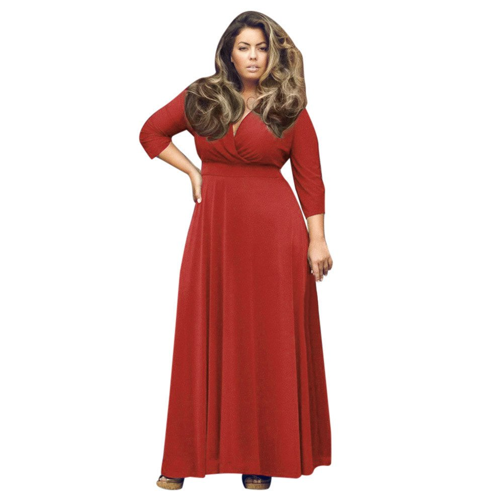 7e3e313119e Women s Dresses Plus Size Short Sleeve Pocket Long Boho Dress Casual Ball  Prom Gown Cocktail Loose Maxi Dress at Amazon Women s Clothing store